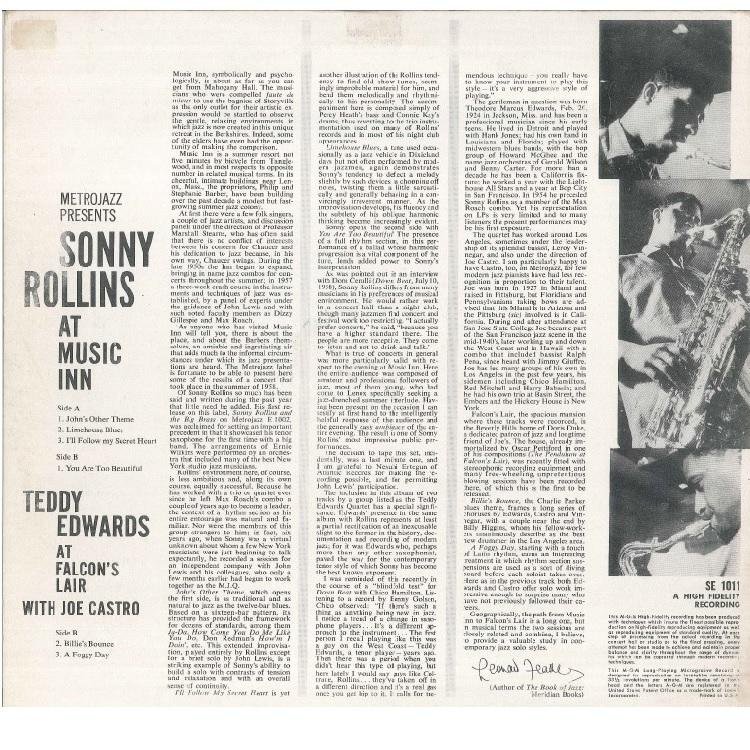 【LP】SONNY ROLLINS/AT MUSIC INN / AT FALCON'S LAIR