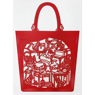 Ai Weiwei, China Bag,Cats and Dogs (red) アイ・ウェイウェイ PVCバッグ
